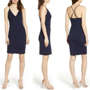 Socialite Navy V-Neck Crossback Sheath Dress, M